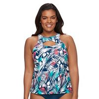 Plus Size Pink Envelope Bust Enhancer Palm Leaf Tankini Top