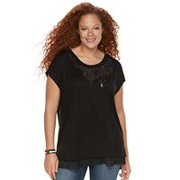 Plus Size Rock & Republic® Embellished Chiffon-Trim Top