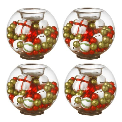 National Tree Company Ornament & Bell Christmas Candle Holder 4-piece Set