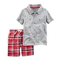 Baby Boy Carter's Sailboat Polo & Plaid Shorts Set