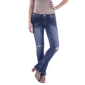 Juniors' Amethyst Ripped Flare-Leg Jeans