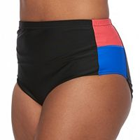 Plus Size Pink Envelope Colorblock High-Waisted Bikini Bottoms