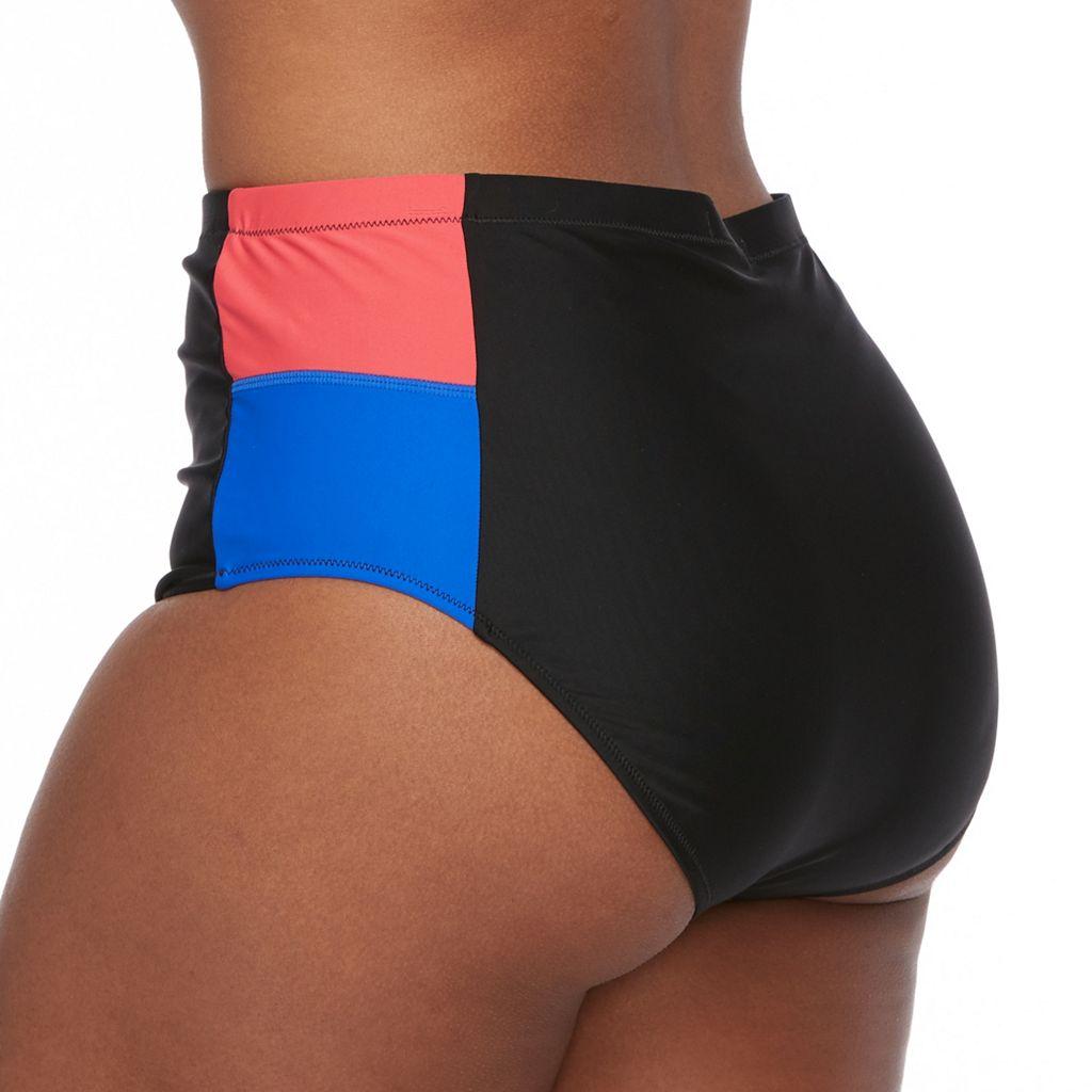 Plus Size Pink Envelope Colorblock High-Waisted Bikini Bottoms