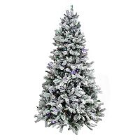 Pre-Lit 7.5-ft. Artificial Flocked Victoria Pine Christmas Tree