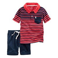 Baby Boy Carter's Striped Polo & Solid Shorts Set