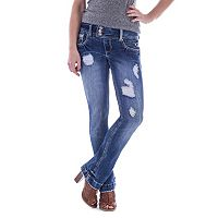 Juniors' Amethyst Ripped Baby Bootcut Jeans