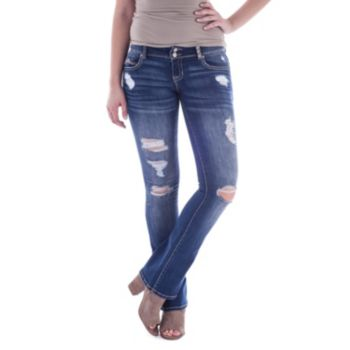 Juniors' Amethyst Ripped Slim Bootcut Jeans
