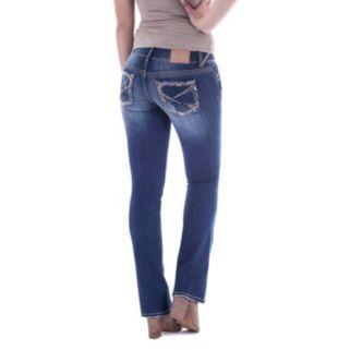Juniors' Amethyst Ripped Slim Bootcut Jeans