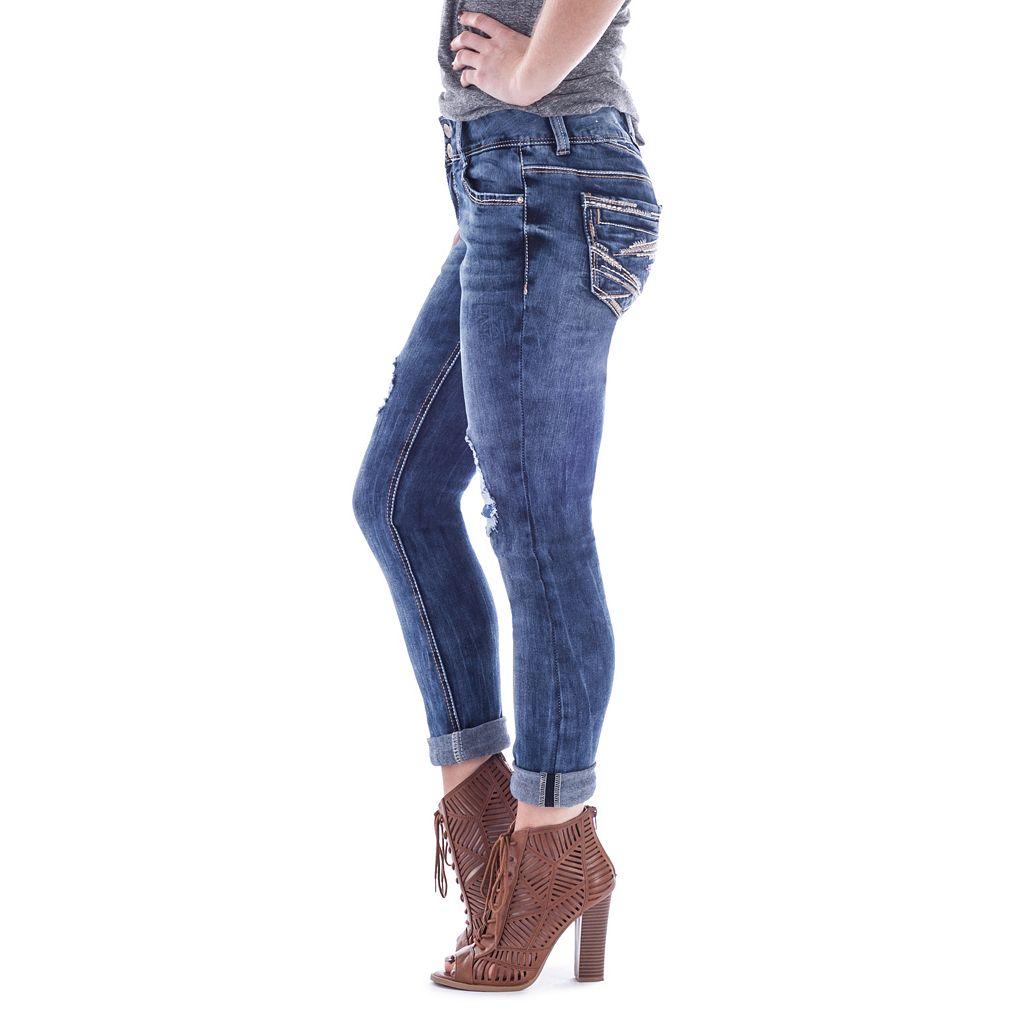Juniors' Amethyst Cuffed Girlfriend Jeans