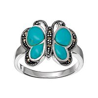 Silver Luxuries Simulated Turquoise Butterfly Ring