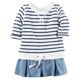 Girls 4-8 Carter's Stripe Pull Over Chambray Peplum Tunic