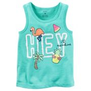 Girls 4-8 Carter's Aqua 'Hey' Tank Top