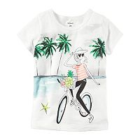 Girls 4-8 Carter's Short Sleeve Island Bike Girl Graphic Tee