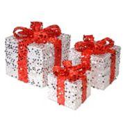 National Tree Company Sequin Gift Box Table Decor 3 pc Set