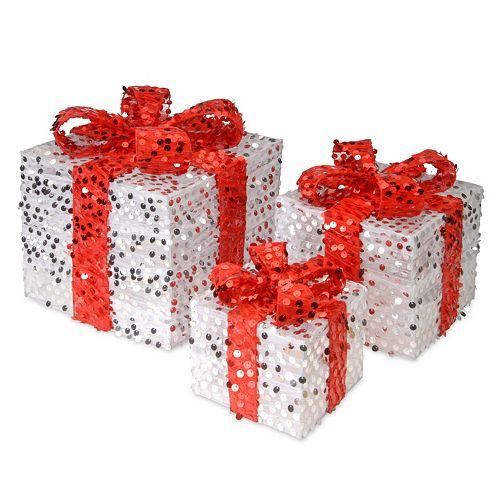 National Tree Company Sequin Gift Box Table Decor 3-piece Set