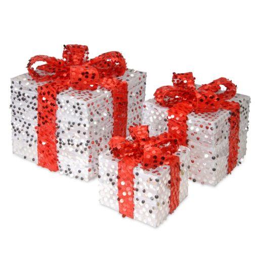 National Tree Company Sequin Gift Box Table Decor 3-piece Set