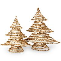 National Tree Company Rattan Christmas Tree Table Decor 2 pc Set
