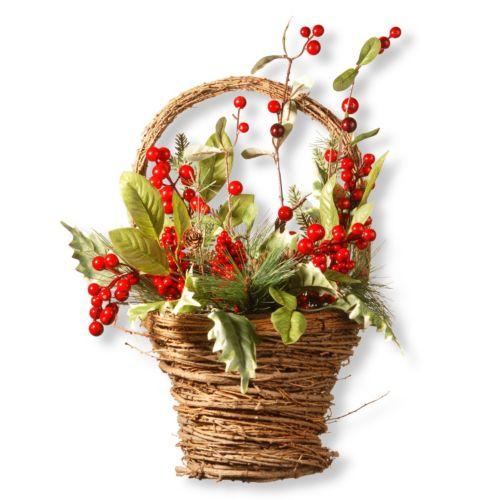 National Tree Company 16″ Holiday Basket Table Decor