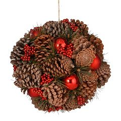 National Tree Company 12' Natural Pinecone Kissing Ball Wall Decor