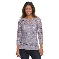 Women's Croft & Barrow® Open-Work High-Low Sweater
