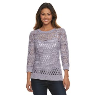 Women's Croft & Barrow® Open-Work High-Low Sweater