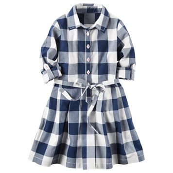 Girls 4-8 Carter's Long Sleeve Gingham Plaid Poplin Shirt Dress