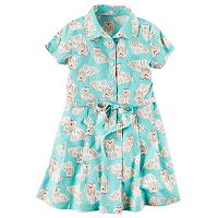 Girls 4-8 Carter's Dog-Printed Shirt Dress