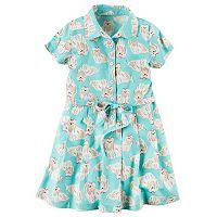 Girls 4-8 Carter's Dog-Printed Shirt Dress
