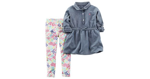 Baby Girl Carter S Chambray Long Sleeved Peplum Top