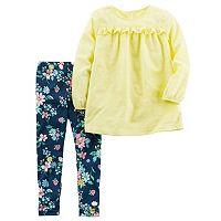 Baby Girl Carter's Swiss Dot Ruffled Top & Floral Leggings Set