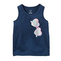 Girls 4-8 Carter's Foil-Print Sunglasses Graphic Slubbed Tank Top