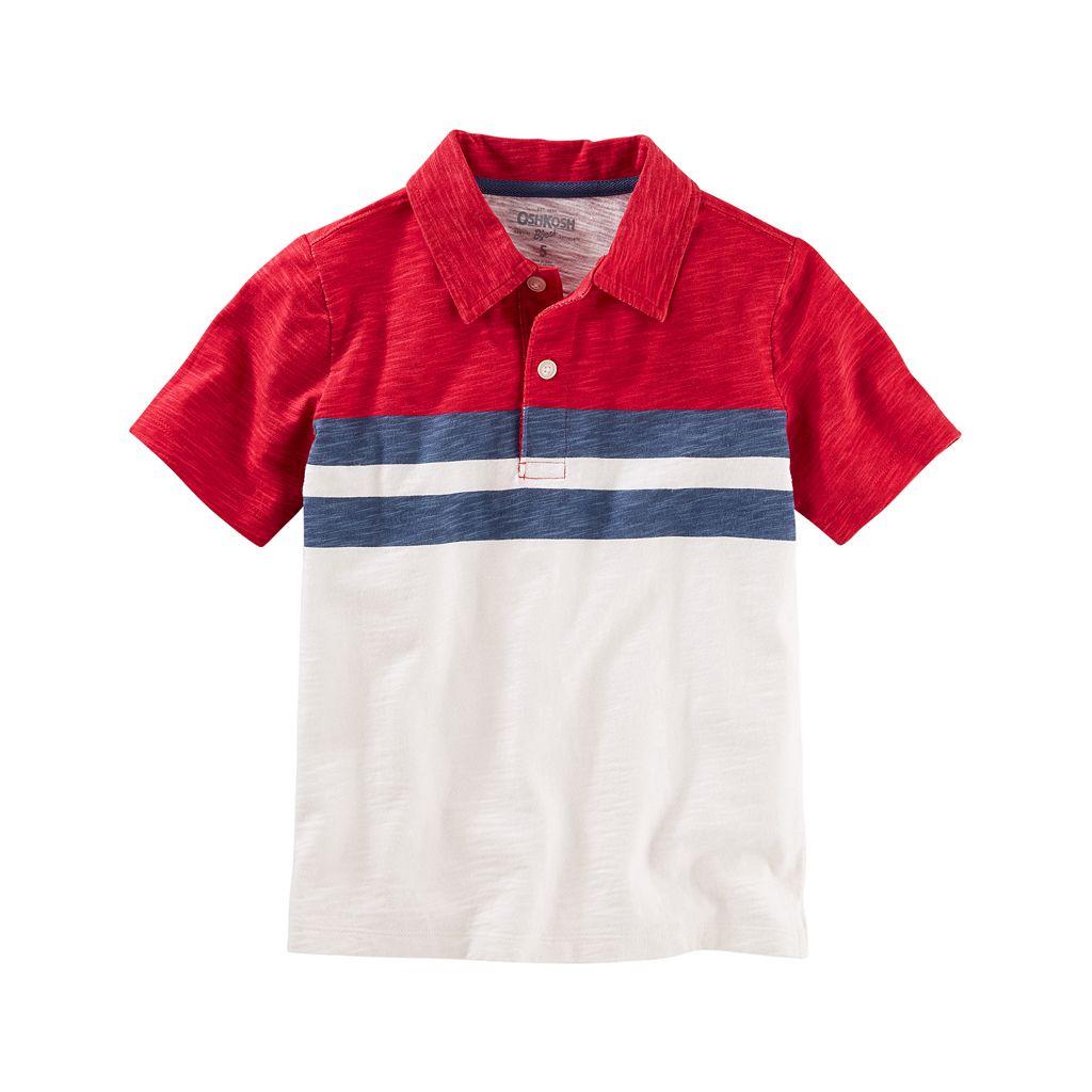 Boys 4-8 OshKosh B'gosh® Short Sleeve Striped Slubbed Polo Shirt