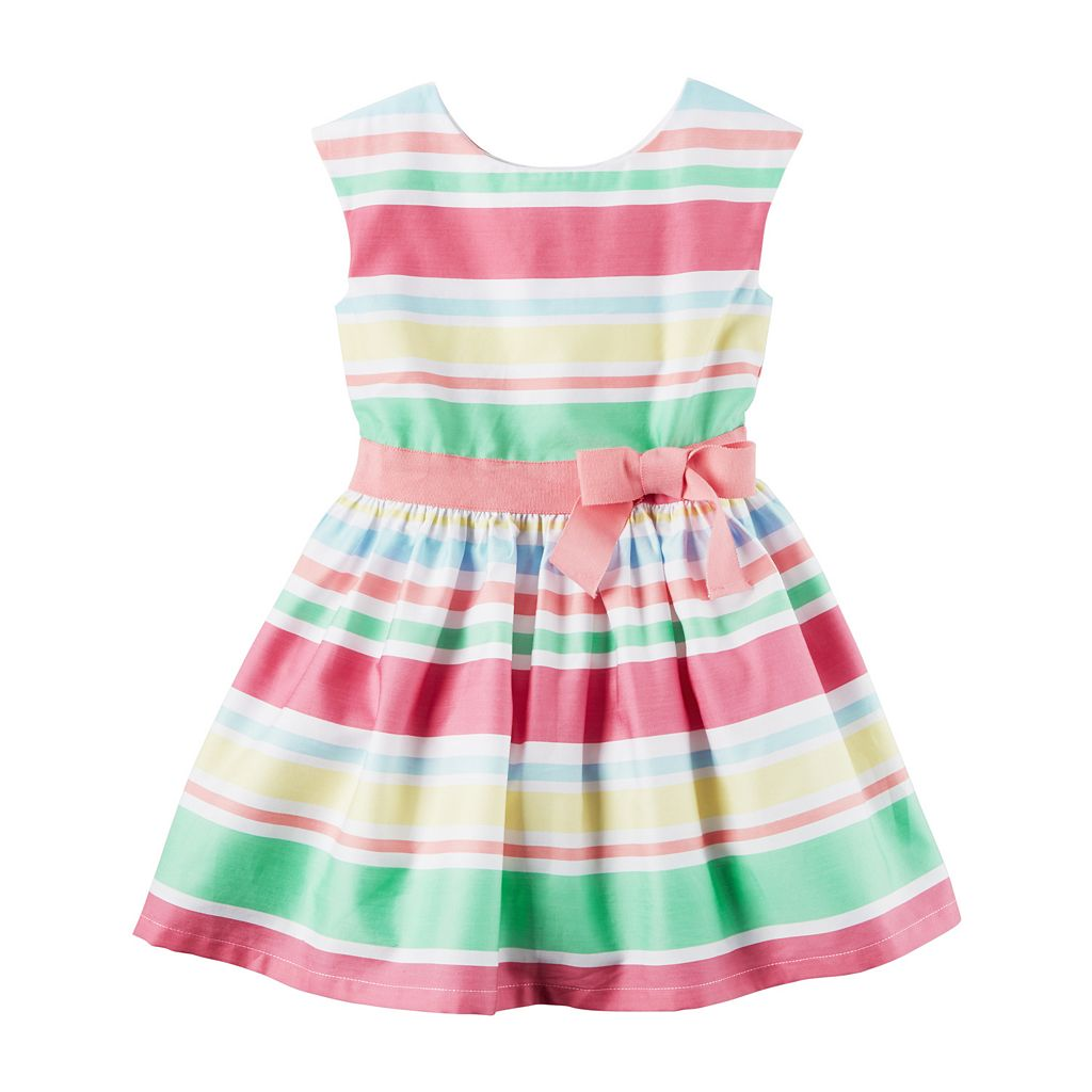 Girls 4-8 Carter's Sateen Multi-Color Striped Dress
