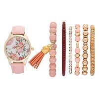 Vivani Women's Floral Watch & Bracelet Set