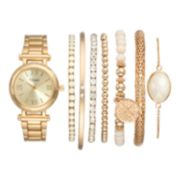 Vivani Women's Crystal Watch & Bracelet Set
