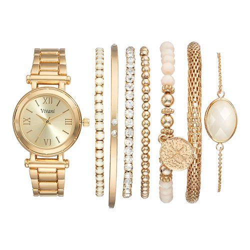 Vivani Women's Crystal Watch & Bracelet Set