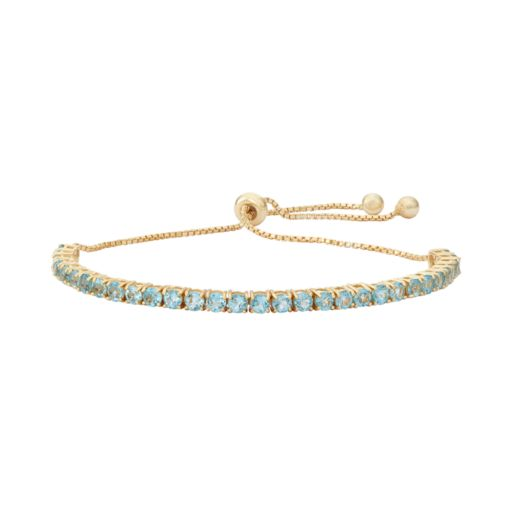 14k Gold Over Silver Blue Topaz Lariat Bracelet
