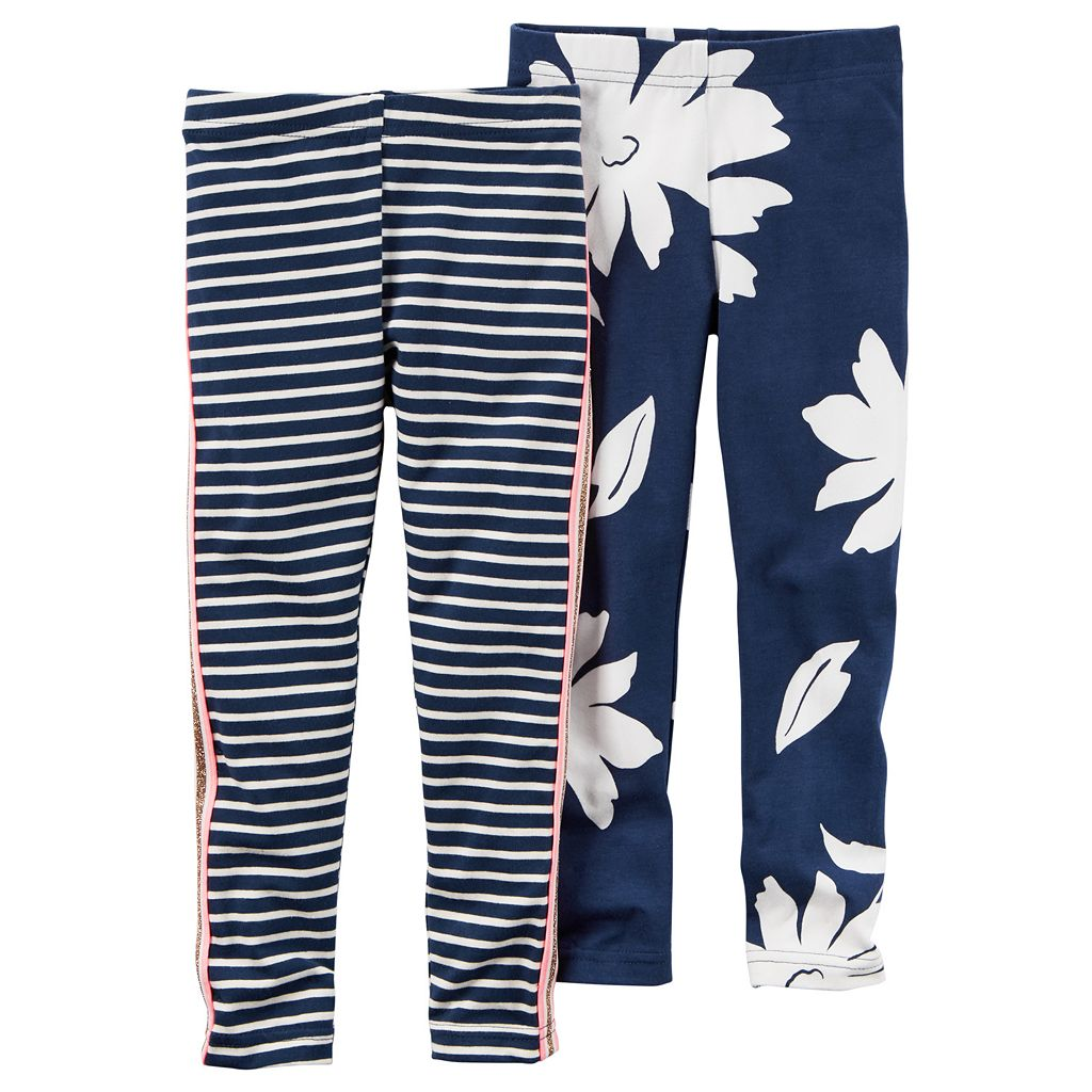 Girls 4-6x Carter's 2-pk. Stripe & Floral Leggings Set
