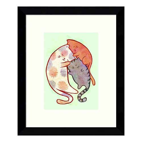 Cuddling Cats Framed Wall Art
