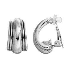 Dana Buchman Clip On J Hoop Earrings