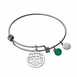 "love this lifeAventurine ""Love"" Family Tree Charm Bangle Bracelet"