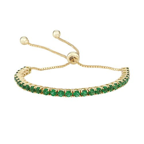 14k Gold Over Silver Simulated Emerald Lariat Bracelet