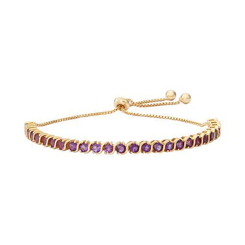14k Gold Over Silver Amethyst S-Link Lariat Bracelet