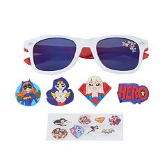 Girls 4-6x DC Super Hero Girls Batgirl, Supergirl & Wonder Woman 3D Character Retro Square Sunglasses