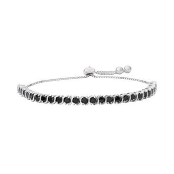 Sterling Silver Black Spinel S-Link Lariat Bracelet