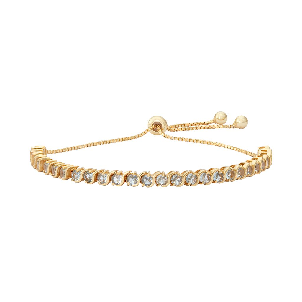 14k Gold Over Silver Lab-Created Aquamarine S-Link Lariat Bracelet