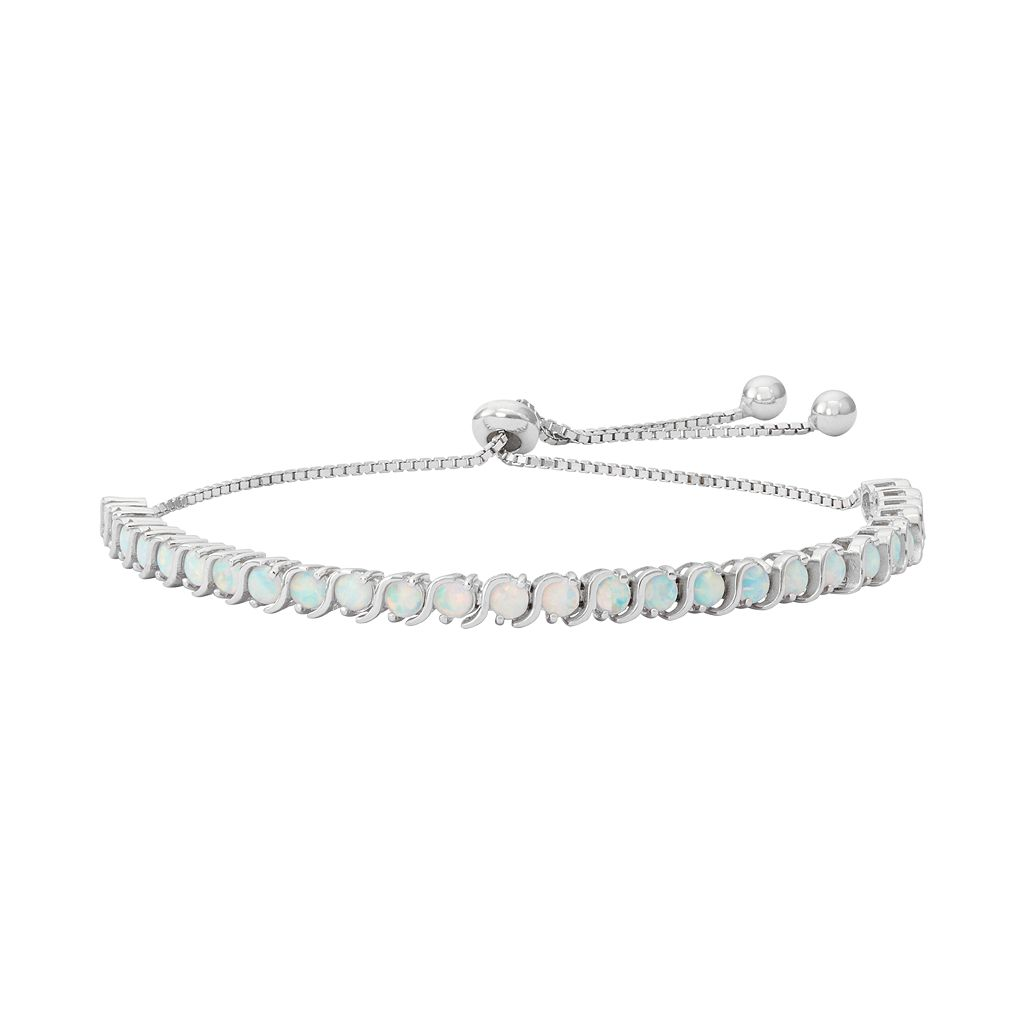 Sterling Silver Lab-Created White Opal S-Link Lariat Bracelet
