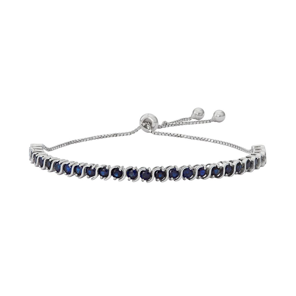 Sterling Silver Lab-Created Sapphire S-Link Lariat Bracelet