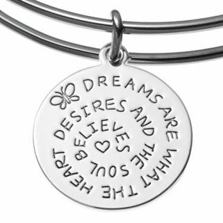 love this lifeRose Quartz Dream Butterfly Charm Bangle Bracelet
