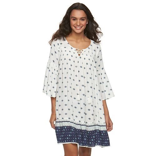 Juniors' Mudd® Smocked Bell Sleeve Peasant Dress